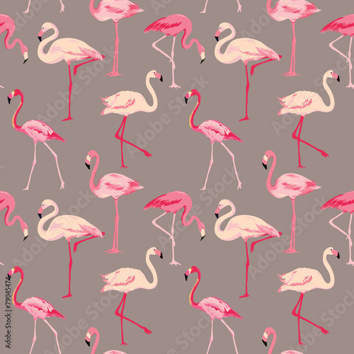 Fotobehang Flamingo vogel Flamingo Bird Background - Retro seamless pattern in vector