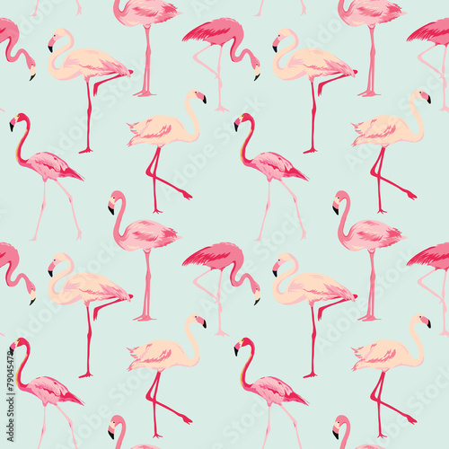 Cotton fabric Flamingo Bird Background - Retro seamless pattern in vector