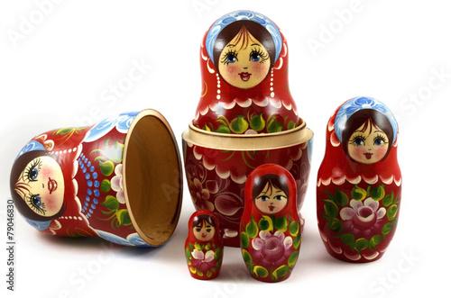 five traditional Russian matryoshka dolls Poster Mural XXL