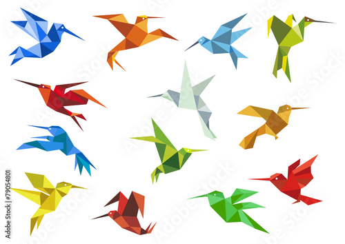 Photo  Abstract origami hummingbirds design elements