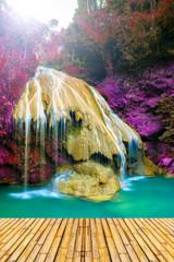 Fototapeta Bambus wonderful waterfall in thailand with bamboor floor