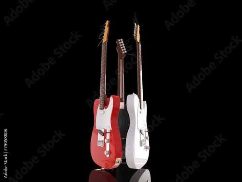 Photo  Three electric guitars on black background