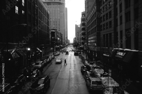 Black and White Chicago Streets Canvas