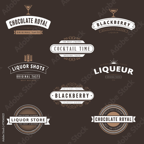 hipster logo liquore design vector typography template buy this