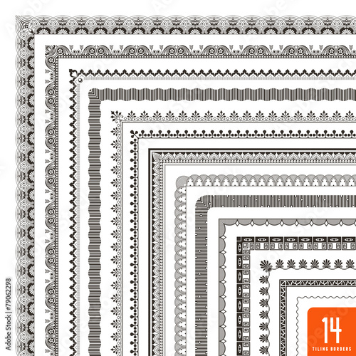 large collection of seamlessly tiling borders/frames (14 items) Wall mural