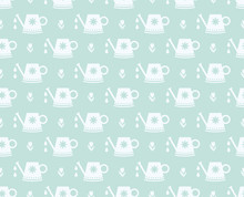 Watering Can And Tulip Pattern