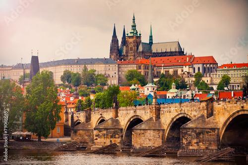 Staande foto Praag Saint Vitus cathedral and Charles bridge in Prague