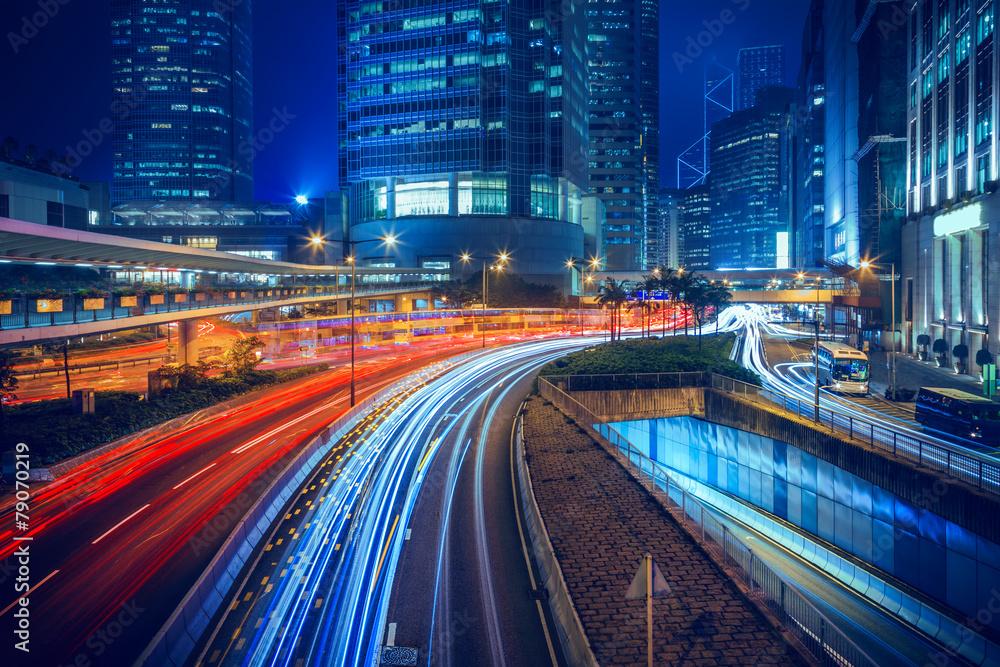 Fototapety, obrazy: Hong Kong city night scenes