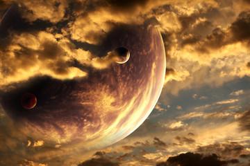 Fototapeta zachód słońca z innej planety - zachmurzone niebo