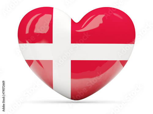 Photo  Heart shaped icon with flag of denmark