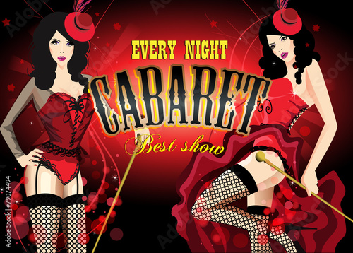 Fotografie, Obraz  Two Cabaret dancer in a red corset. Retro vector poster