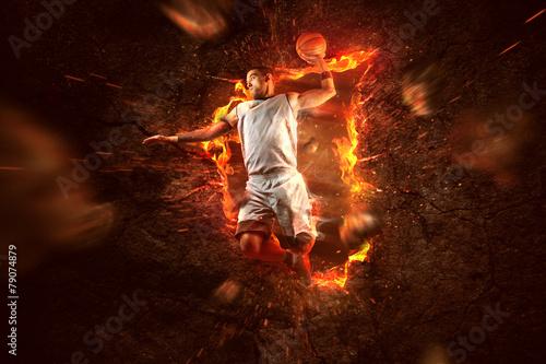 fototapeta na lodówkę Koszykówka w ogniu