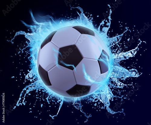 Fototapety, obrazy: football in blue water splash