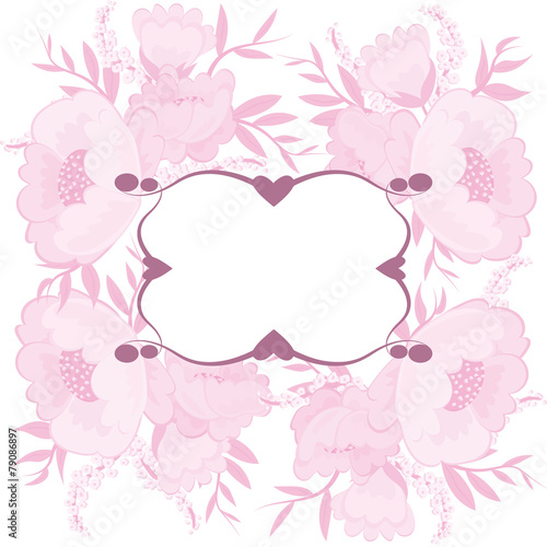 Fototapeta Frame for your text with floral background obraz na płótnie