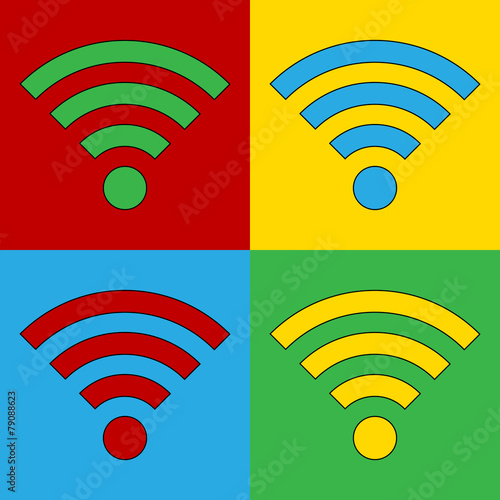 Fotobehang Pop Art Pop art Wi Fi simbol icons.