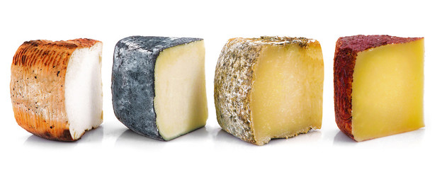 Fototapetaquatro tipi di formaggio a fette