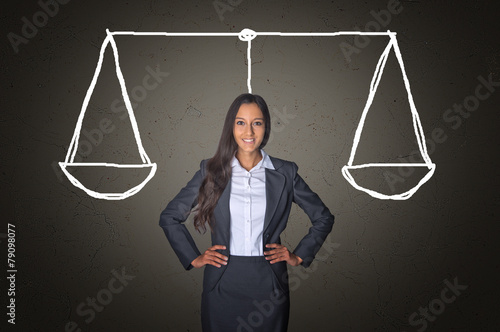 Fotografia, Obraz  Businesswoman on Gray with Justice Scale Drawing