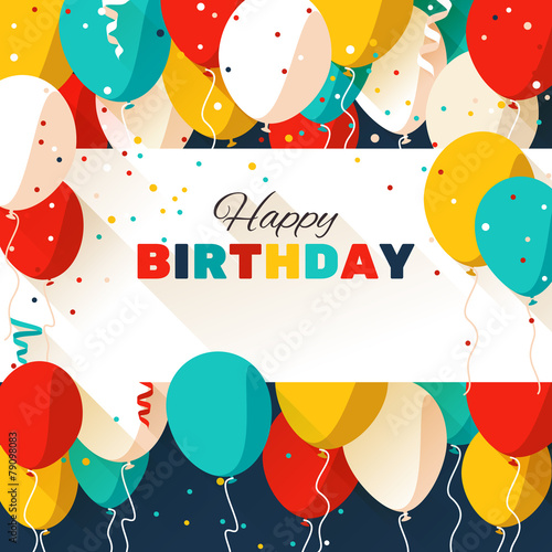 Happy Birthday greeting card in a flat style Poster