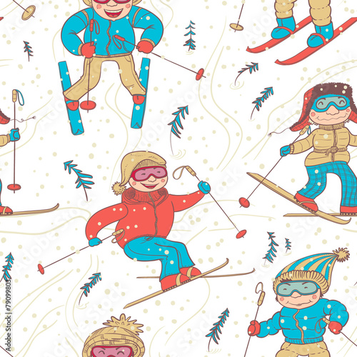 Cotton fabric skiers seamless