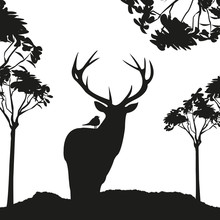 Vecrot Black Deer In The Woods Stencil