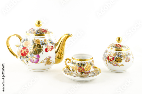 Fotografie, Obraz  Porcelain tea and coffee set with flower motif