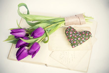 Old Love Letters And Purple Tulips