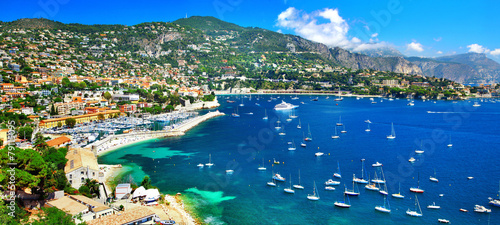 Photo sur Toile Nice azure coast of France - panoramic view of Nice