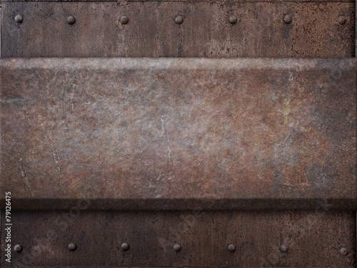 Canvas Print rusty tank armor metal texture with rivets as steam punk