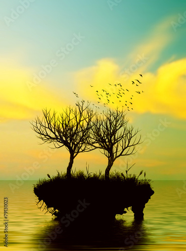 Poster Jaune Beautiful landscape with birds