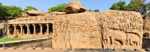 Fotografia, Obraz  Ancient basreliefs in Mamallapuram, Tamil Nadu, India