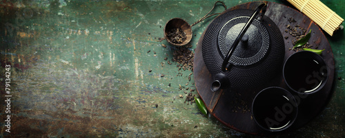 Photo  Black iron asian tea set