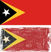 East Timor Grunge Flag. Vector Illustration