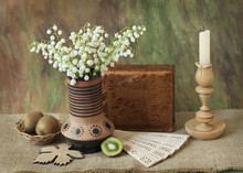 Still Life With Lily-of-valley Bunch, Books, Fruits