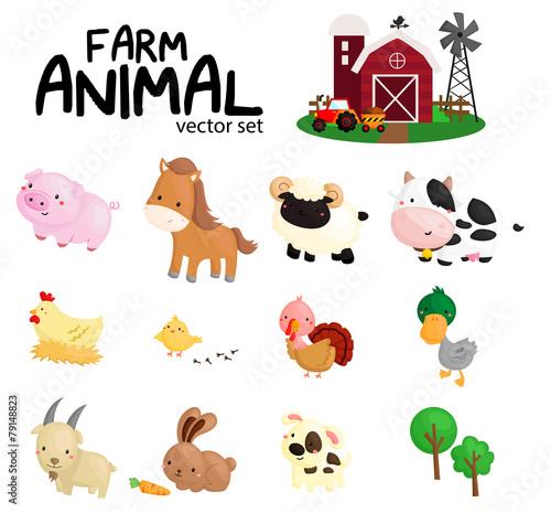 Foto  farm animal vector set - no background