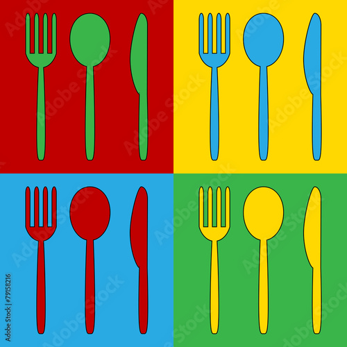 Fotografie, Obraz  Pop art fork, spoon and knife symbol icons.