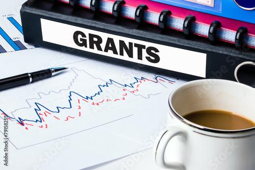 Fotografering folder with label grants