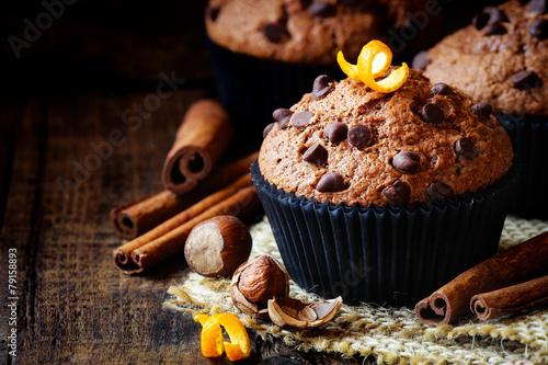 Fotografie, Obraz  Homemade Orange Chocolate chip and cinnamon muffin