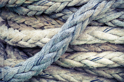 Fotografía  Nautical rope, closeup background texture, vintage toned