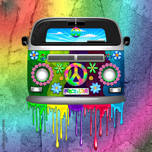 Aluminium Prints Draw Hippie Van Dripping Rainbow Paint