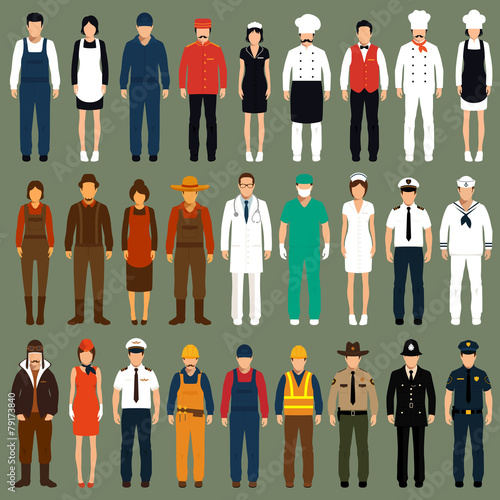 Fotografía  vector icon workers, profession people uniform, cartoon vector