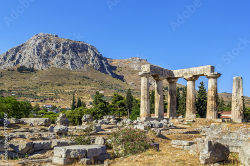 Temple of Apollo in ancient Corinth, Greece Canvas-taulu