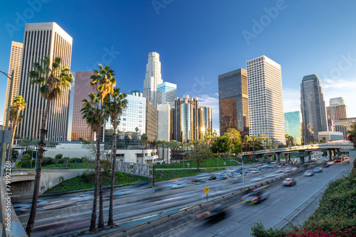 Staande foto Los Angeles Los Angeles downtown buildings skyline highway traffic