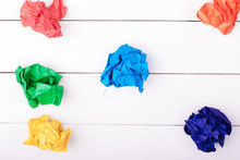 Colored Balls Of Crumpled Paper