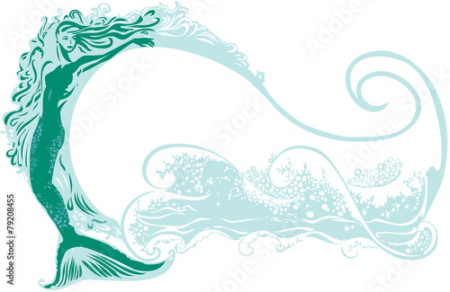Mermaid with a wave background Poster
