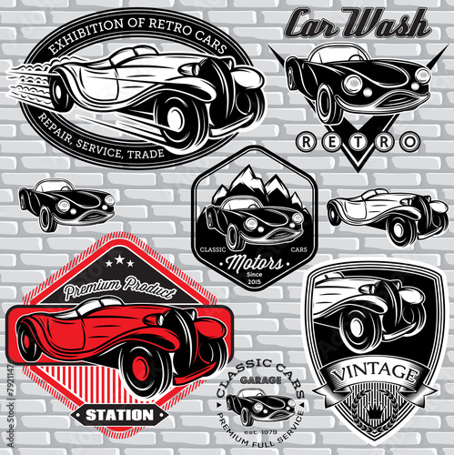 Obraz oldtimer  set-of-emblems-with-retro-car-on-wall
