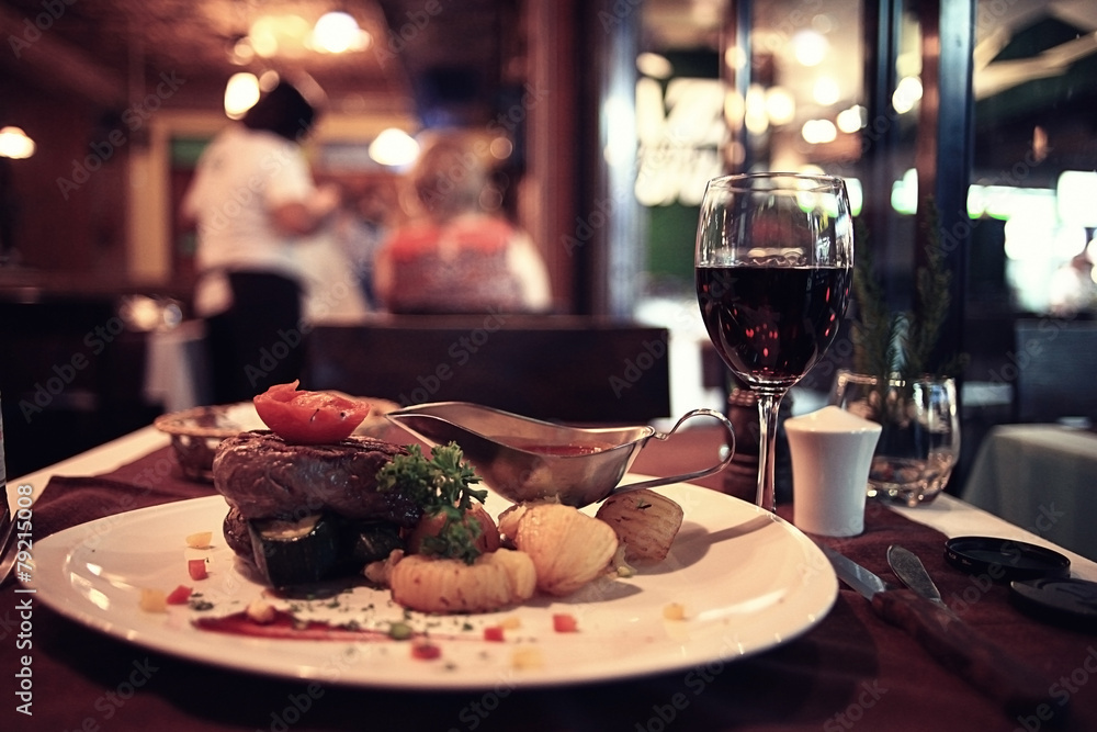 Fototapety, obrazy: food in the restaurant, table, background