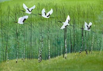 Panel Szklany Japoński flight of cranes