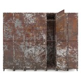 Empty old lockers isolate on white background