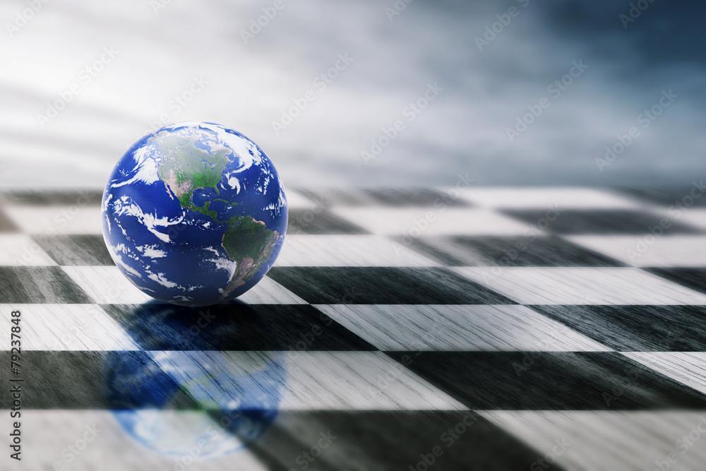 Fototapeta world on chessboard isolated blue sky background