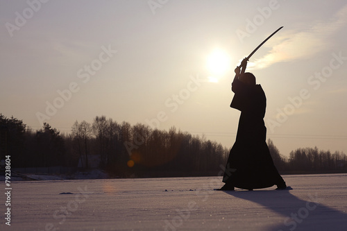 Photo  Japanese ninja winter portrait